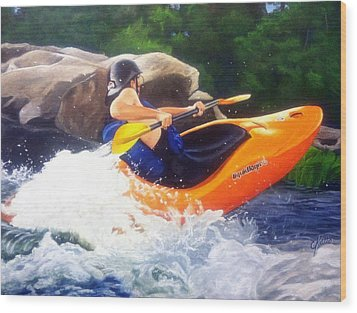Kayaking Fun Wood Print by Cireena Katto