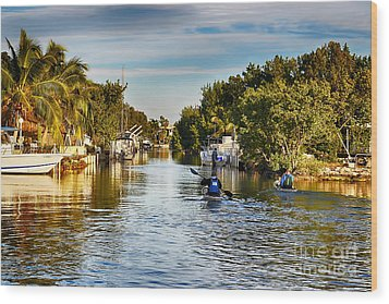 Kayaking The Canals Wood Print