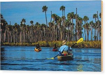Kayaking Weeki Wachee Wood Print by Pamela Blizzard