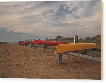 Wood Print featuring the photograph Kayaks by Amazing Jules