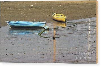 Kayaks-blue And Yellow Wood Print by Sebastian Mathews Szewczyk