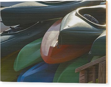 Wood Print featuring the photograph Kayaks For Rent by Arthur Dodd