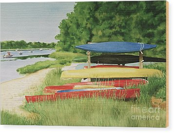 Wood Print featuring the painting Kayaks In Limbo by Karol Wyckoff