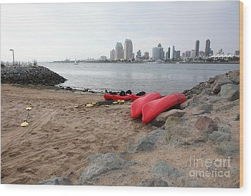 Kayaks On Coronado Island Overlooking The San Diego Skyline 5d24369 Wood Print by Wingsdomain Art and Photography