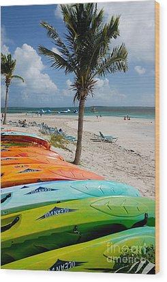 Kayaks On The Beach Wood Print by Amy Cicconi