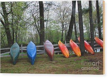 Kayaks Waiting Wood Print by Michael Mooney
