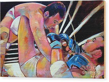 Wood Print featuring the painting Kazushi Sakuraba 1 by Robert Phelps