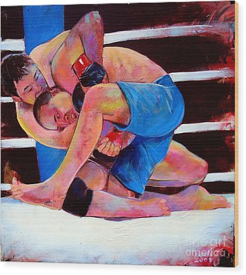 Wood Print featuring the painting Kazushi Sakuraba by Robert Phelps