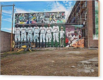 Kc Monarchs - Baseball Wood Print by Liane Wright