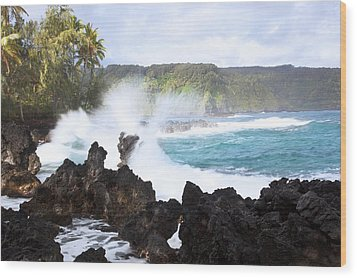 Keanae Lava Rocks Wood Print by Jenna Szerlag