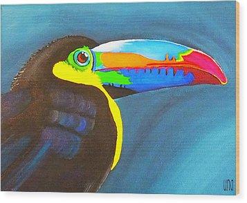 Keel Billed Toucan  Wood Print by Una  Miller