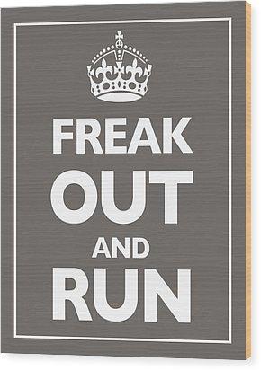 Keep Calm And Carry On Parody Brown Wood Print by Tony Rubino