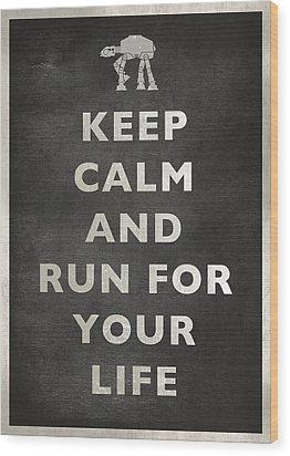 Keep Calm At-at Wood Print by Andy Walsh