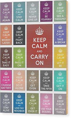 Keep Calm Classic Collage Wood Print by Helena Kay
