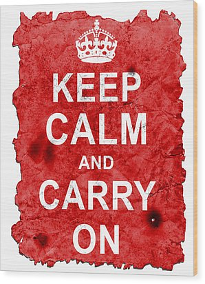 Wood Print featuring the digital art Keep Calm Poster Torn by Nik Helbig