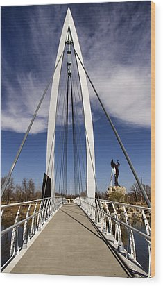 Keeper Of The Plains Bridge View Wood Print