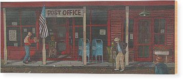 Wood Print featuring the painting Keeping In Touch by Tony Caviston