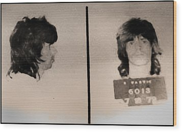Keith Richards Mugshot - Keith Don't Go Wood Print by Bill Cannon