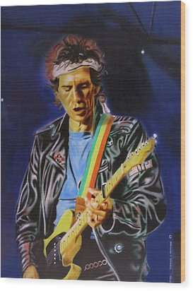 Wood Print featuring the painting Keith Richards Of Rolling Stones by Thomas J Herring