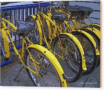 Kelley Island Bikes Wood Print by Joan  Minchak