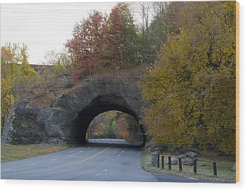 Kelly Drive Rock Tunnel In Autumn Wood Print by Bill Cannon