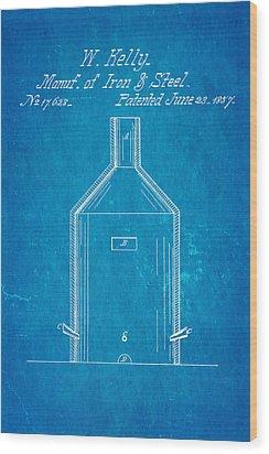 Kelly Iron And Steel Patent Art 1857 Blueprint Wood Print by Ian Monk