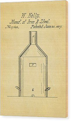 Kelly Iron And Steel Patent Art 1857 Wood Print by Ian Monk