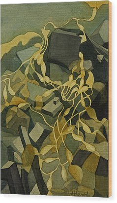 Kelp-on-the-rocks Wood Print by Anne Havard