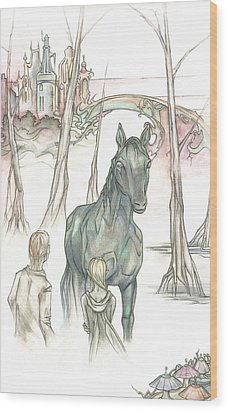 Kelpie Encounter Wood Print by Danielle Sobol