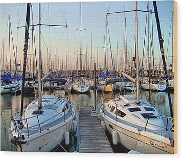 Kemah Boardwalk Marina Wood Print
