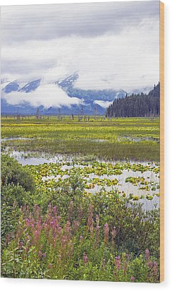 Kenai Lake Wood Print by Saya Studios