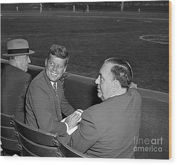 Wood Print featuring the photograph Kennedy Baseball 1959 by Martin Konopacki Restoration