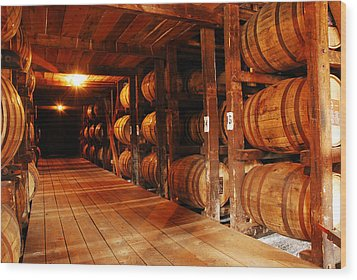 Kentucky Bourbon Aging In Barrels Wood Print by James Kirkikis