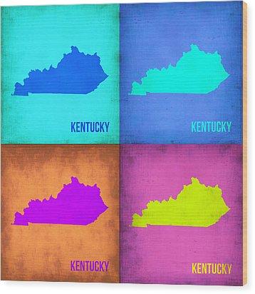 Kentucky Pop Art Map 1 Wood Print by Naxart Studio