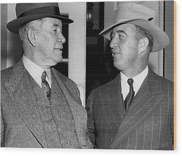 Kentucky Senators Visit Fdr Wood Print by Underwood Archives