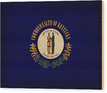 Kentucky State Flag Art On Worn Canvas Wood Print by Design Turnpike