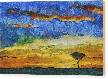 Kenyan Sunrise Wood Print by Marina Likholat