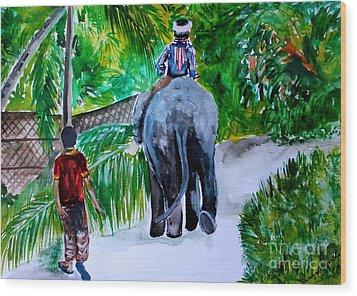 Wood Print featuring the painting Kerala by Saranya Haridasan