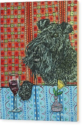 Kerry Blue Terrier At The Wine Bar Wood Print by Jay  Schmetz