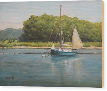 Ketch At Anchor Wood Print