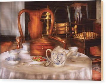 Kettle -  Have Some Tea - Chinese Tea Set Wood Print by Mike Savad