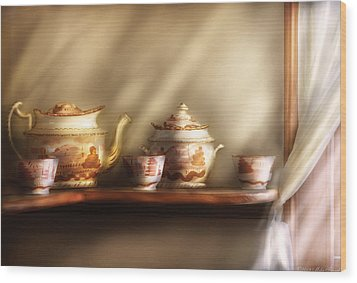 Kettle - My Grandmother's Chinese Tea Set  Wood Print by Mike Savad