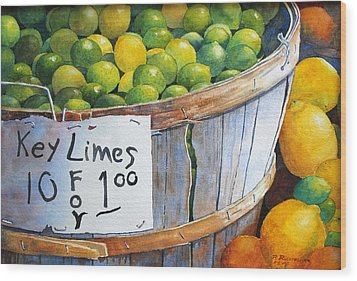 Wood Print featuring the painting Key Limes Ten For A Dollar by Roger Rockefeller