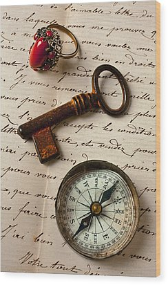 Key Ring And Compass Wood Print by Garry Gay