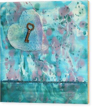 Key To My Heart Encaustic Wood Print by Pattie Calfy