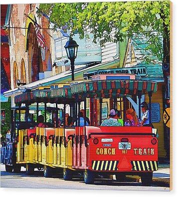 Key West Conch Train Wood Print by Pamela Blizzard