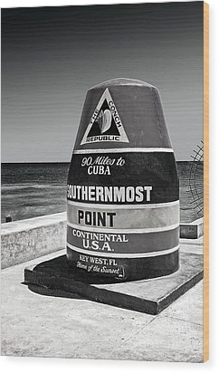 Key West Cuba Distance Marker Wood Print
