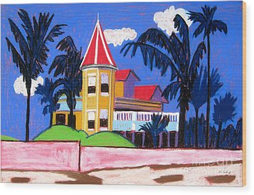 Key West Southern House Wood Print by Lesley Giles