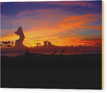 Key West Sun Set Wood Print by Iconic Images Art Gallery David Pucciarelli