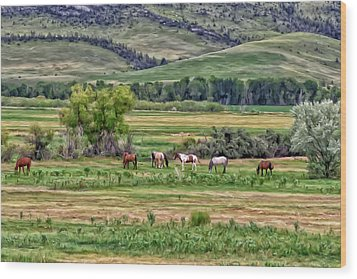 Wood Print featuring the painting K G Ranch by Michael Pickett